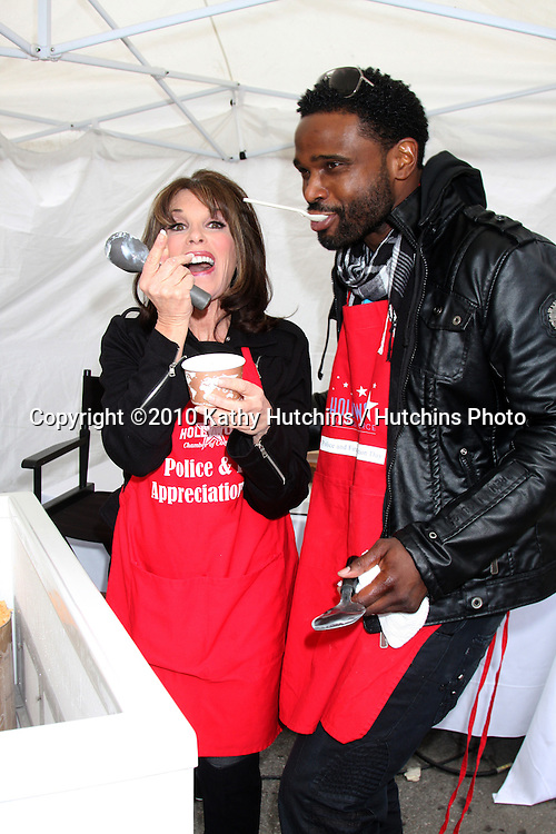 LOS ANGELES - NOV 18:  Kate Linder, Darius McCrary arrives at the 2010 Hollywood Chamber of Commerce Fire Dept & Police Appreiciation Luncheon at Wilcox Police Station on November 18, 2010 in Los Angeles, CA
