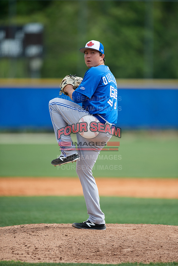 Toronto Blue Jays pitcher William Ouellette (55) during a Minor League Spring Training Intrasquad game on March 31, 2018 at Englebert Complex in Dunedin, Florida.  (Mike Janes/Four Seam Images)