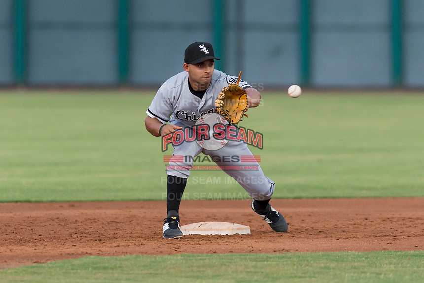 AZL White Sox second baseman Camilo Quinteiro waits to receive a throw from the catcher during an Arizona League game against the AZL Cubs 2 at Sloan Park on July 13, 2018 in Mesa, Arizona. The AZL Cubs 2 defeated the AZL White Sox by a score of 6-4. (Zachary Lucy/Four Seam Images)