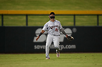 Scottsdale Scorpions left fielder Trey Harris (22), of the Atlanta Braves organization, prepares to catch a fly ball during an Arizona Fall League game against the Mesa Solar Sox on September 18, 2019 at Sloan Park in Mesa, Arizona. Scottsdale defeated Mesa 5-4. (Zachary Lucy/Four Seam Images)