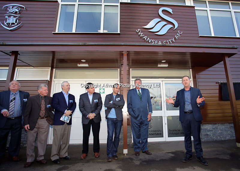 Pictured: Club chairman Huw Jenkins (R) speaks befire the unveiling of the plaque next to owners Jason Levien, Steve Kaplan, American football player Landon Donovan and John Toshack MBE Tuesday 04 April 2017<br />Re: Official opening of the Fairwood Training Complex of Swansea City FC, Wales, UK