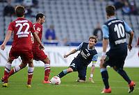 Fussball 2. Bundesliga:  Saison   2012/2013,    4. Spieltag  TSV 1860 Muenchen - MSV Duisburg    31.08.2012 (v. li.) Dustin Bomheuer (MSV Duisburg) und Tanju Oeztuerk (MSV Duisburg) gegen Benjamin Lauth (1860 Muenchen) und Moritz Stoppelkamp (1860 Muenchen)