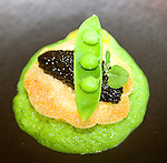Olive Oil Poached Egg with Peas and Osetra Caviar, Dux Restaurant, Orlando, Florida