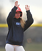 Ashley Budrewicz #4 of MacArthur waves to cheering teammates after connecting for a run-scoring double in the bottom of the first inning in a non-league varsity softball game against Massapequa at MacArthur High School on Tuesday, March 20, 2018. She went 2-4 with two doubles, an RBI and a run scored in MacArthur's 3-0 win.