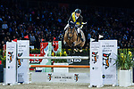 Team JC rider Simon Delestre of France riding Bamako M'Aurea and jockey Neil Callan of Ireland riding Einstein Chavannais compete in the HKJC Race Of The Riders during the Longines Masters of Hong Kong at the Asia World Expo on 09 February 2018, in Hong Kong, Hong Kong. Photo by Diego Gonzalez / Power Sport Images