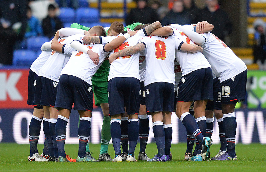 Bolton Wanderers' players have a team huddle before the kick off<br /> <br /> Photographer Dave Howarth/CameraSport<br /> <br /> Football - The Football League Sky Bet Championship - Bolton Wanderers v Rotherham United - Saturday 6th February 2016 - Macron Stadium - Bolton <br /> <br /> &copy; CameraSport - 43 Linden Ave. Countesthorpe. Leicester. England. LE8 5PG - Tel: +44 (0) 116 277 4147 - admin@camerasport.com - www.camerasport.com