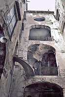 """Palermo: """"Vucciria market"""",  ruins of an aristocratic building .Palermo, mercato della vucciria, antico palazzo in rovina."""