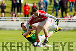 Mark Griffin Kerry in action against Luke Connolly Cork in the National Football league in Austin Stack Park, Tralee on Sunday.