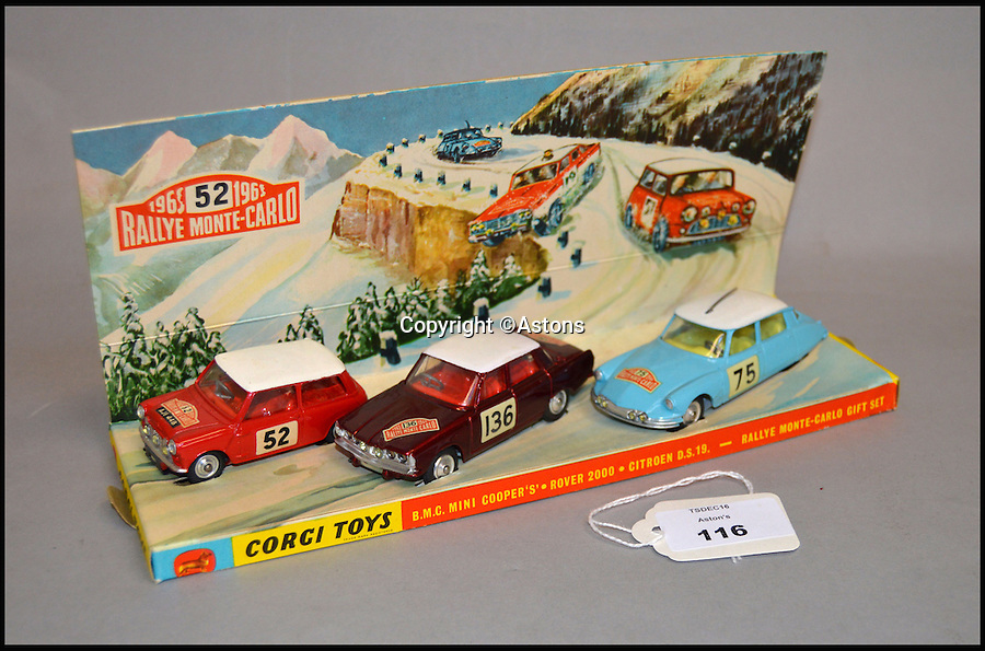 BNPS.co.uk (01202 558833)<br /> Pic: Astons/BNPS<br /> <br /> Corgi Toys GS38 Rallye Monte Carlo.<br /> <br /> A retired historian's remarkable collection of 700 toy cars has sold for almost £100,000.<br /> <br /> Anders Clausager, 67, amassed so many toy cars over the past 60 years he got his own auction to off-load them.<br /> <br /> A collector from Sheffield paid £2,100 for a pack of 12 Lego miniatures set, while a prestigious French Dinky Toys set went for £1,450 and a Corgi Toys set went for £850 at the auction in Dudley.