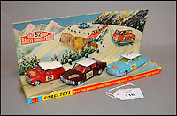 BNPS.co.uk (01202 558833)<br /> Pic: Astons/BNPS<br /> <br /> Corgi Toys GS38 Rallye Monte Carlo.<br /> <br /> A retired historian's remarkable collection of 700 toy cars has sold for almost &pound;100,000.<br /> <br /> Anders Clausager, 67, amassed so many toy cars over the past 60 years he got his own auction to off-load them.<br /> <br /> A collector from Sheffield paid &pound;2,100 for a pack of 12 Lego miniatures set, while a prestigious French Dinky Toys set went for &pound;1,450 and a Corgi Toys set went for &pound;850 at the auction in Dudley.