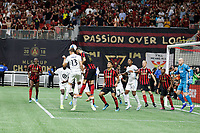 ATLANTA, Georgia - August 27: Ethan Finlay #13 and Justin Meram #14 during the 2019 U.S. Open Cup Final between Atlanta United and Minnesota United at Mercedes-Benz Stadium on August 27, 2019 in Atlanta, Georgia.