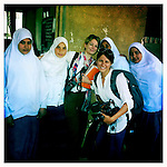 10x10 Producer Jenna Millman (center) and 10x10 Field Producer Gina Nemirofsky with girls in Egypt.