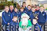 Killlorglin rugby players with St patrick at the parade on Monday front row l-r: Eoin Clifford, Gabriel Griffin. Back row: Evan Madden, Mike Cahillane, John O'Connor, Gearoid Hussey, Mike Carey, Jack Carey, Alex O'Connor, Jack O'Leary, Dean Callaghan and Jack O'Connor