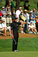 Masters Golf Tournament 2005, Augusta National Georgia, USA. Gary Player on the green on the 16th hole, Redbud.<br /> <br /> Champion 2005 - Tiger Woods <br /> <br /> Note: There is no property release or model release available for this image.