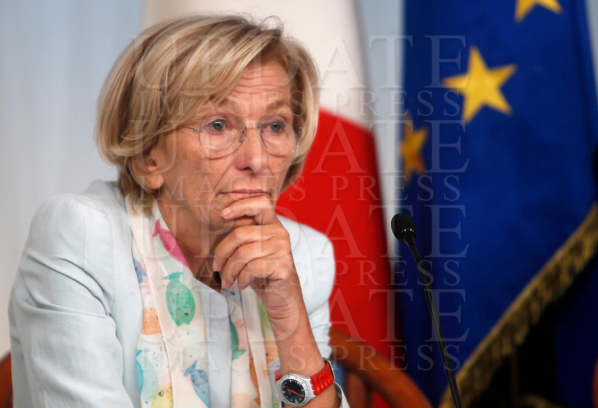 UPDATE IMAGES PRESS/Isabella Bonotto<br /> Il Ministro degli Esteri Emma Bonino durante la conferenza stampa al termine del Consiglio dei Ministri a Palazzo Chigi, Roma, 19 settembre 2013.<br /> Italian Foreign Minister Emma Bonino attends a press conference at the end of a cabinet meeting at Chigi Palace, Rome 19 September 2013.<br /> UPDATE IMAGES PRESS/Isabella Bonotto