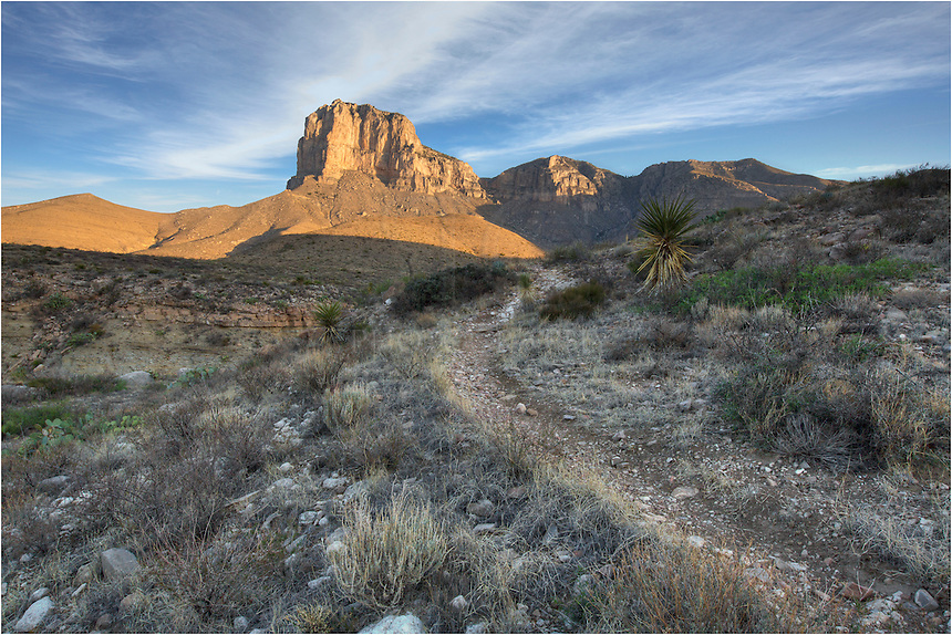 The El Capitan Trail in Guadalupe Mountains National Park is a long loop that offers great views of the iconic El Capitan, Guadalupe Peak (the tallest point in Texas) as well as the Chihuahuan Desert to the east. If you go in the summer, bring lots of water. It gets hot our here.<br />