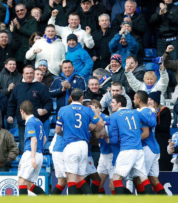 Vladimir Weiss takes the acclaim as his cross is turned in for Rangers' winner