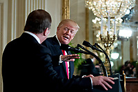 U.S. President Donald Trump speaks as Stefan Lofven, Sweden's prime minister, left, listens during a news conference in the East Room of the White House in Washington, D.C., U.S., on Tuesday, March 6, 2018. Trump and Lofven are looking to focus on trade and investment between the two countries and ways to achieve shared defense goals. <br /> CAP/MPI/RS<br /> &copy;RS/MPI/Capital Pictures