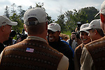 Tiger Woods among his team mates on practice day for the 2006 Ryder Cup at The K Club..Photo: Eoin Clarke/Newsfile.