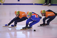 SCHAATSEN: DORDRECHT: 11-10-2015, Invitation Cup Shorttrack, Leon Bloemhof (#58), Richard Shoebridge (GBR) (#32), Sjinkie Knegt (#53), ©foto Martin de Jong