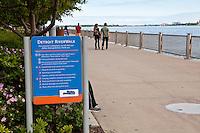 Detroit riverWalk is seen in Detroit (Mi) Saturday June 8, 2013.  River Walk is a 9km promenade from the Ambassador Bridge to Belle Isle.