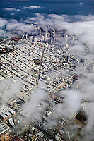 aerial photograph Columbus Avenue toward San Francisco financial district