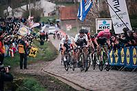 World Champion Peter Sagan (SVK/Bora-Hansgrohe), Tiesj Benoot (BEL/Lotto-Soudal), Sep Vanmarcke (BEL/Education First-Drapac), Greg Van Avermaet (BEL/BMC), Zdenek Stybar (CZE/Quick-Step Floors) are all packed together in the chase behind the 2 race leaders  in the final climb up the Paterberg.<br /> <br /> 102nd Ronde van Vlaanderen 2018 (1.UWT)<br /> Antwerpen - Oudenaarde (BEL): 265km