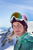 USA, California, Mammoth, portrait of a snowboarder at Mammoth Ski Resort