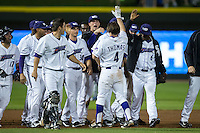 Toby Thomas (4) of the Winston-Salem Dash is congratulated by his teammates after his walk-off hit defeated the Myrtle Beach Pelicans in the bottom of the 9th inning at BB&T Ballpark on April 19, 2016 in Winston-Salem, North Carolina.  The Dash defeated the Pelicans 6-5.  (Brian Westerholt/Four Seam Images)