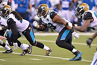 Jacksonville Jaguars rookie defensive tackle Eli Ankou (99) against the Indianapolis Colts in a NFL game Sunday, October 22, 2017 in Indianapolis, IN.  (Rick Wilson/Jacksonville Jaguars)