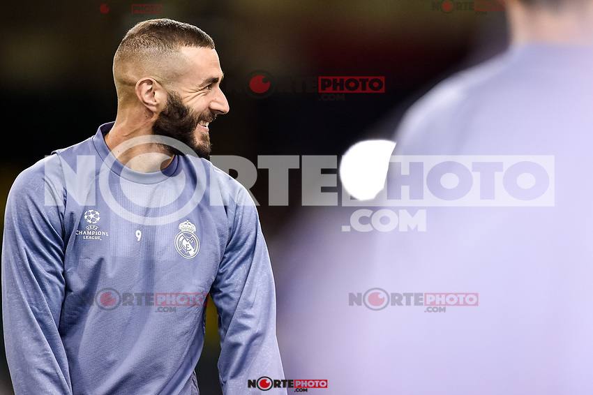 Karim Benzema of Real Madrid during the training session ahead the UEFA Champions League Final between Real Madrid and Juventus at the National Stadium of Wales, Cardiff, Wales on 2 June 2017. Photo by Giuseppe Maffia.<br /> Giuseppe Maffia/UK Sports Pics Ltd/Alterphotos /NortePhoto.com