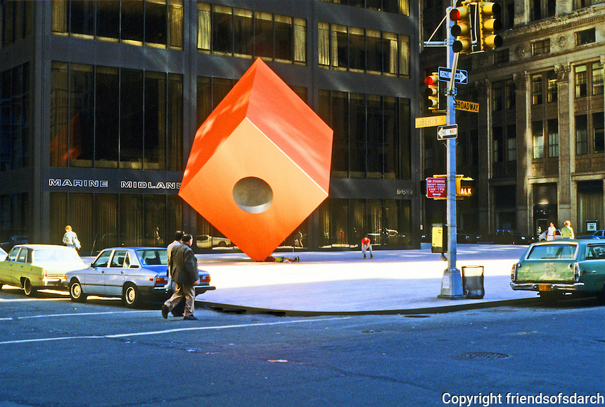 "New York: Isamu Noguchi's  ""Red Cube"" sculpture, 140 Broad, 1967."