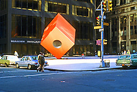 "New York: Isamu Noguchi's  ""Red Cube"" sculpture, 140 Broad, 1967."
