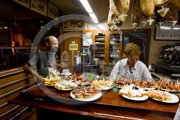 SAN SEBASTIAN - SPAIN - 23 JULY 2010 -- Tapas, or in Basques called pintxos, ready for lunch time at the Casa Alcalde Tapas Bar, San Sebastian. PHOTO: ERIK LUNTANG / EUP-Images.