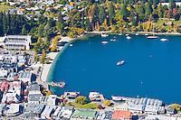 An Aerial View of Queenstown Harbour and Lake Wakatipu, South Island, New Zealand. From the centre of Queenstown, you can take a gondola ride into the mountains where you get fantastic views over the whole of Queenstown, including Queenstown Harbour which can be seen in this photo.
