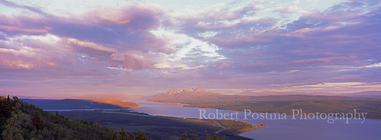 Clearing storm over Teslin Lake, Yukon. Clouds, panoramic