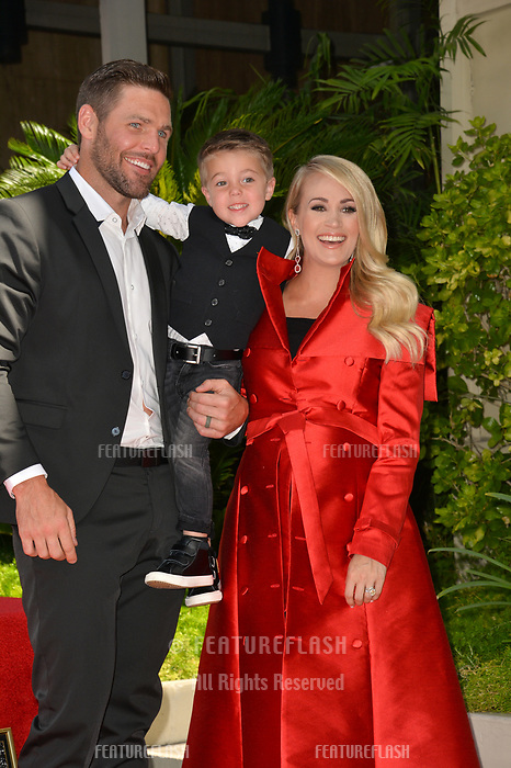 LOS ANGELES, CA. September 20, 2018: Carrie Underwood, Mike Fisher &amp; Isaiah Fisher at the Hollywood Walk of Fame Star Ceremony honoring singer Carrie Underwood.<br /> Pictures: Paul Smith/Featureflash