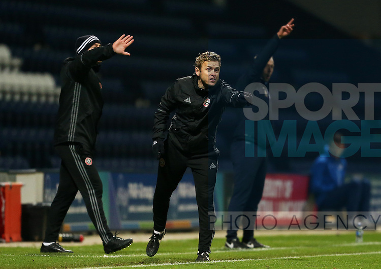 Del Geary of Sheffield United under 18's shout instructions during the FA Youth Cup 3rd Round match at Deepdale Stadium, Preston. Picture date: November 30th, 2016. Pic Matt McNulty/Sportimage