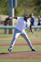 Chicago White Sox pitcher Jefferson Olacio (56) during an Instructional League game against the Los Angeles Dodgers on October 12, 2013 at Camelback Ranch Complex in Glendale, Arizona.  (Mike Janes/Four Seam Images)
