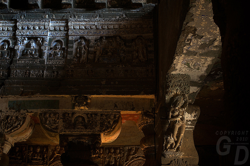 "Ajanta, a UNESCO world heritage site, is famous for its Buddhist rock-cut cave temples and monasteries with their extraordinary wall paintings. The temples are hollowed out of granite cliffs on the inner side of a 20-meter ravine in the Wagurna River valley, 105 km northeast of Aurangabad, at a site of great scenic beauty. About 30 caves were excavated between the 1st century BCE and the 7th century CE and are of two types, caityas (""sanctuaries"") and viharas (""monasteries""). Although the sculpture, particularly the rich ornamentation of the caitya pillars, is noteworthy, it is the fresco-type paintings that are the chief interest of Ajanta. These paintings depict colorful Buddhist legends and divinities with an exuberance and vitality that is unsurpassed in Indian art. [Adapted from Encyclopedia Britannica] Cave 10 in Ajanta Caves contains the oldest Indian paintings of historical period, made around the 1st century BC.<br />