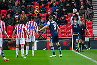 11th January 2020; Bet365 Stadium, Stoke, Staffordshire, England; English Championship Football, Stoke City versus Milwall FC; Jake Cooper of Millwall takes a throw in - Strictly Editorial Use Only. No use with unauthorized audio, video, data, fixture lists, club/league logos or 'live' services. Online in-match use limited to 120 images, no video emulation. No use in betting, games or single club/league/player publications