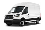 Stock pictures of low aggressive front three quarter view of 2019 Ford Transit-Van - 4 Door Cargo Van Low Aggressive