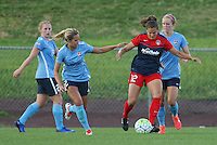 Piscataway, NJ - Saturday July 23, 2016: Shawna Gordon, Katie Stengel during a regular season National Women's Soccer League (NWSL) match between Sky Blue FC and the Washington Spirit at Yurcak Field.