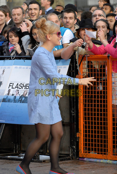 "LILY ALLEN .World Premiere of ""Flashbacks of a Fool"" at the Empire, Leicester Square, London, England. .April 13th 2008 .full length blue dyed blonde hair pink sunglasses shades gingham black tights flat Chanel logo red shoes flats fans funny  profile side view.CAP/IA.©Ian Allis/Capital Pictures."