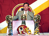 Washington Redskins head coach Norv Turner makes remarks during a press conference announcing the team traded their 1996 first round draft choice (the sixth overall) to the St. Louis Rams for Pro Bowl defensive tackle Sean Gilbert (90) at Redskins Park in Ashburn, Virginia on April 9, 1996.<br /> Credit: Arnie Sachs / CNP