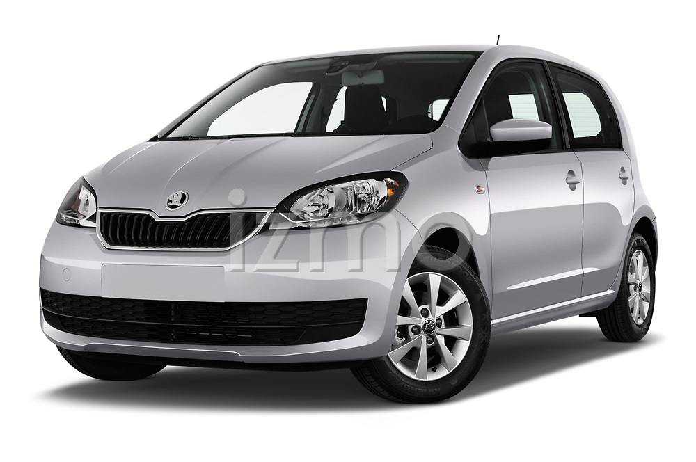 Stock pictures of low aggressive front three quarter view of a 2017 Skoda Citigo Ambition 5 Door Hatchback