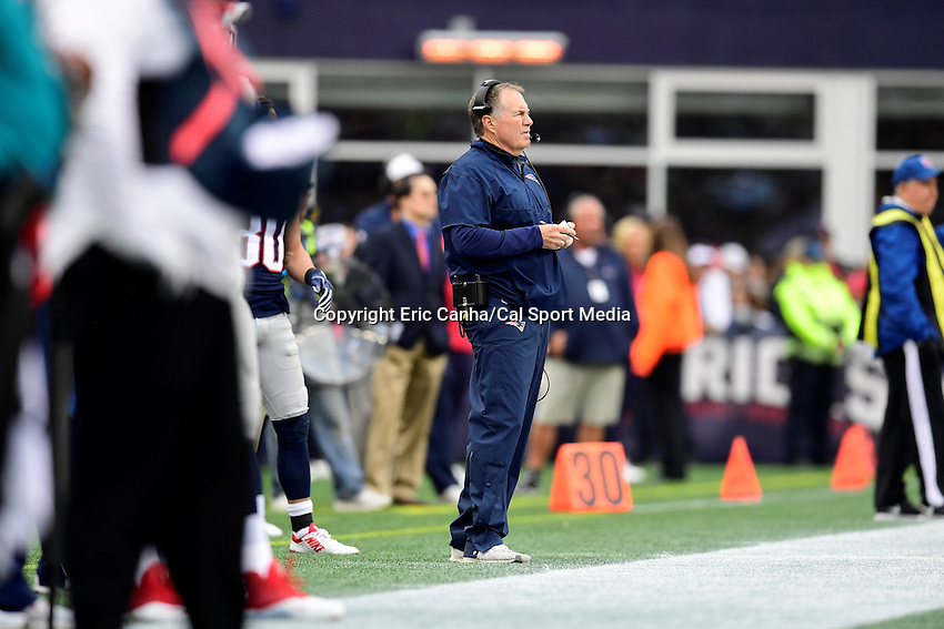 Sunday, October 2, 2016: New England Patriots head coach Bill Belichick watches game action from the sideline during the NFL game between the Buffalo Bills and the New England Patriots held at Gillette Stadium in Foxborough Massachusetts. Buffalo defeats New England 16-0. Eric Canha/Cal Sport Media