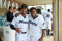 GCL Marlins Javeon Cody (left) and Omar Lebron (right) during a Gulf Coast League game against the GCL Cardinals on August 12, 2019 at the Roger Dean Chevrolet Stadium Complex in Jupiter, Florida.  GCL Marlins defeated the GCL Cardinals 9-2.  (Mike Janes/Four Seam Images)