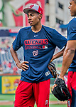 8 July 2017: Washington Nationals Manager's son Darren Baker listens to coaching tips after batting practice prior to a game against the Atlanta Braves at Nationals Park in Washington, DC. The Braves shut out the Nationals 13-0 to take the third game of their 4-game series. Mandatory Credit: Ed Wolfstein Photo *** RAW (NEF) Image File Available ***
