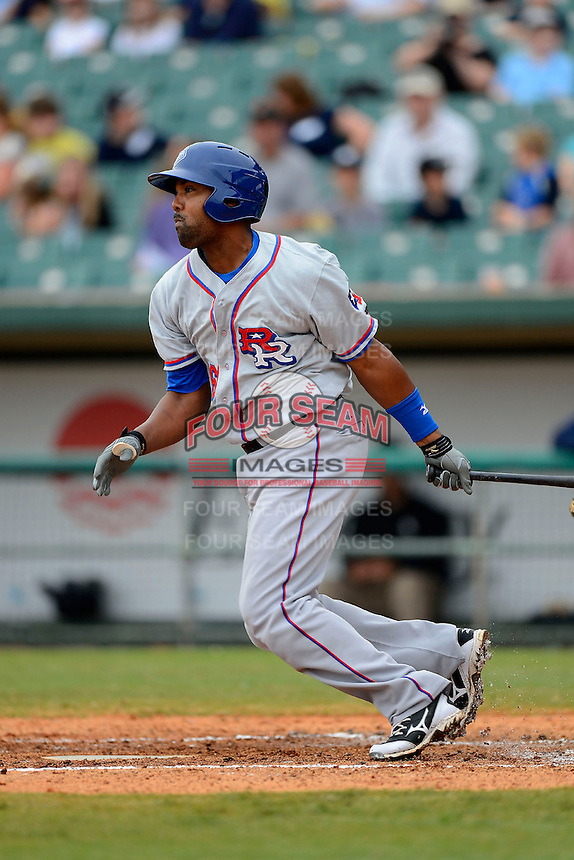 Round Rock Express outfielder Joey Butler #16 during a game against the New Orleans Zephyrs on April 15, 2013 at Zephyr Field in New Orleans, Louisiana.  New Orleans defeated Round Rock 3-2.  (Mike Janes/Four Seam Images)